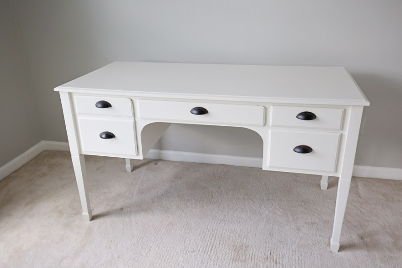 Desk Makeover After Photo of white painted desk