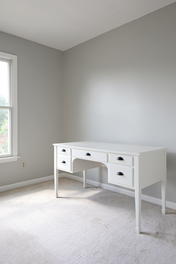 Office Makeover Progress with Gray painted walls and white painted desk