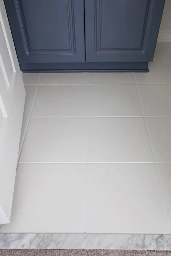 how to paint tile floor in a bathroom