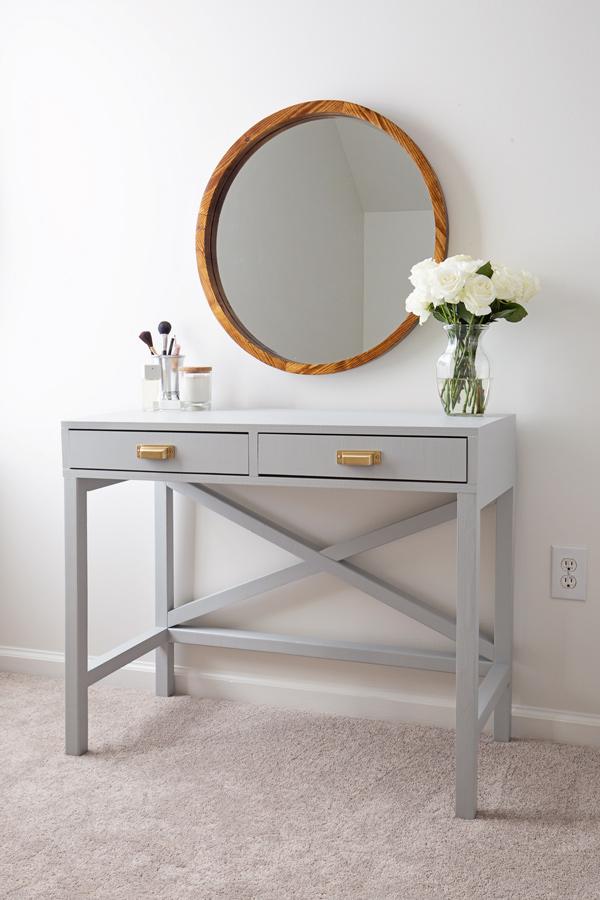 DIY makeup vanity painted light grey
