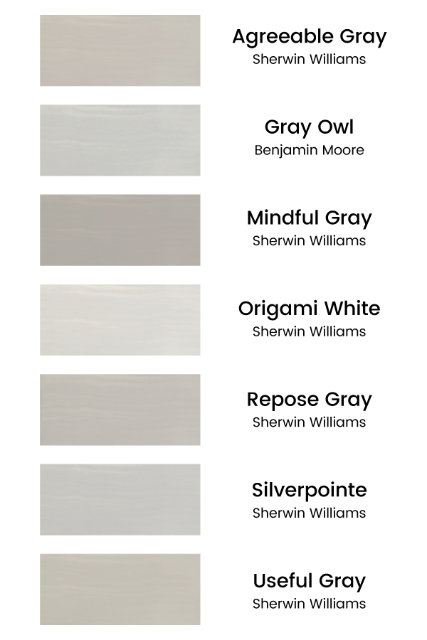 7 paint brush color swatches