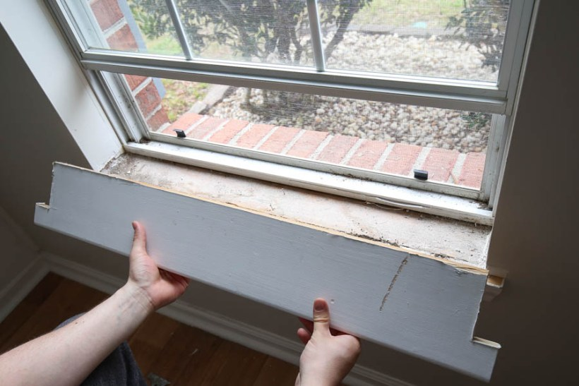 Removing old window sill
