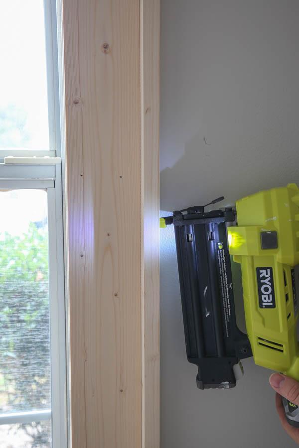use a brad nailer for side 1x2 window trim installation