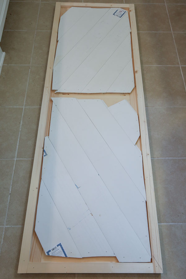 the back of the second DIY barn door for entertainment center showing how it was constructed