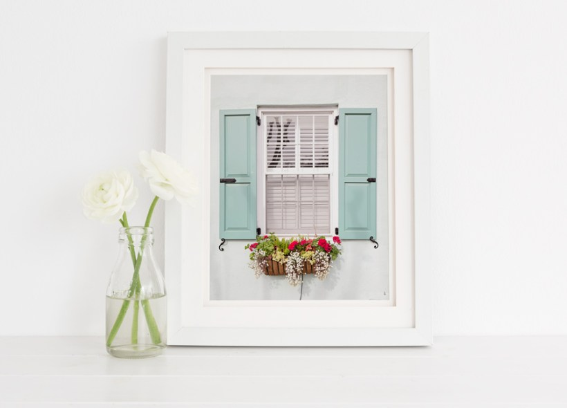 Framed photo of a Charleston window and flower box