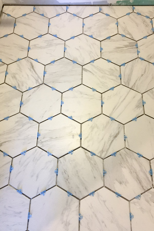 installing hexagon porcelain marble tile