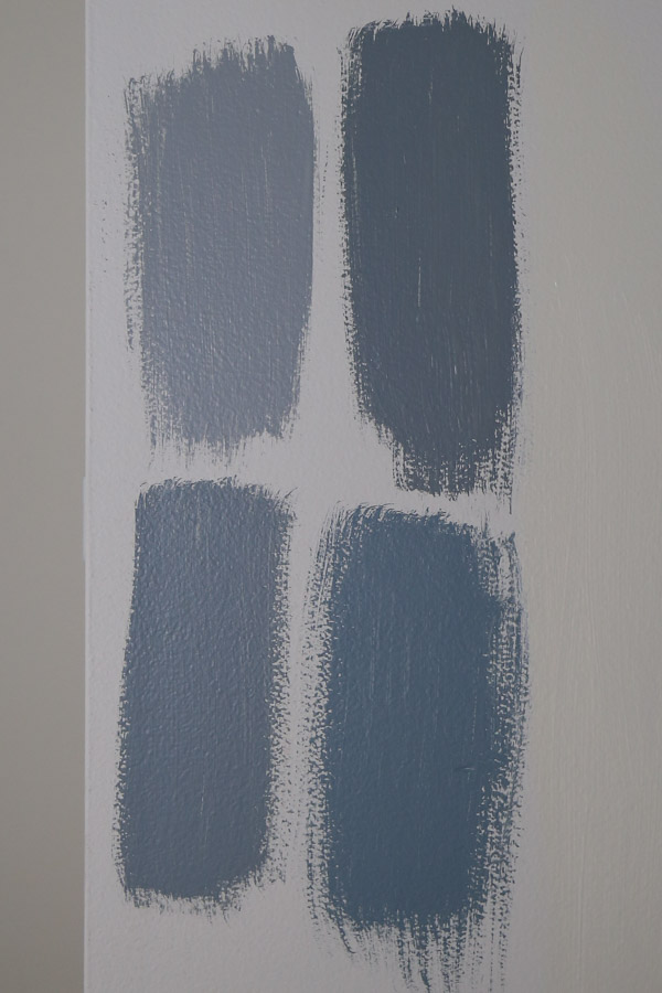 benjamin moore blue gray paint colors samples on wall