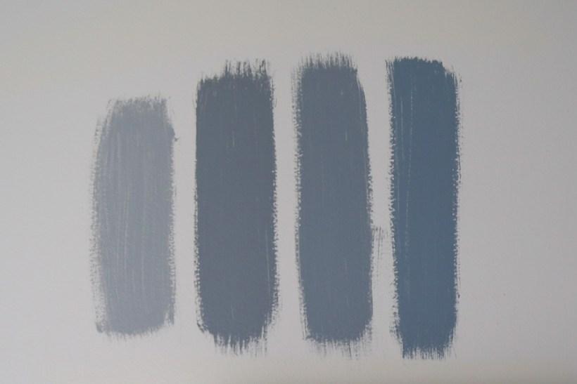 blue gray paint benjamin moore samples on wall