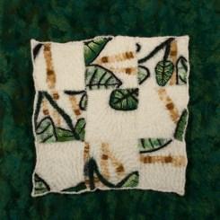 Hand-dyed and needle felted rayon background. Needle felting and hand stitching on wool felt. 2016