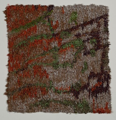 Machine thread painting with cotton and rayon threads on wool flannel. 2016