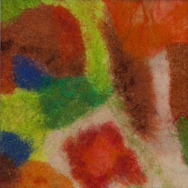 Wool, silk and synthetic fabrics needle felted into canvas. 2016