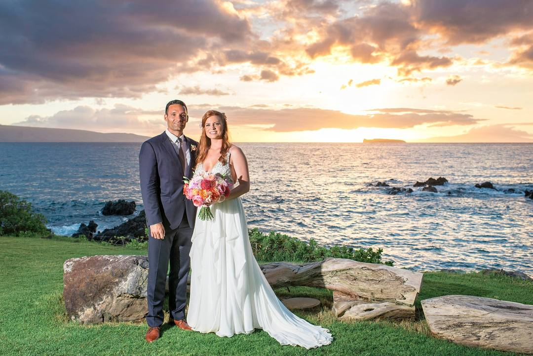 maui bride and groom at sunset