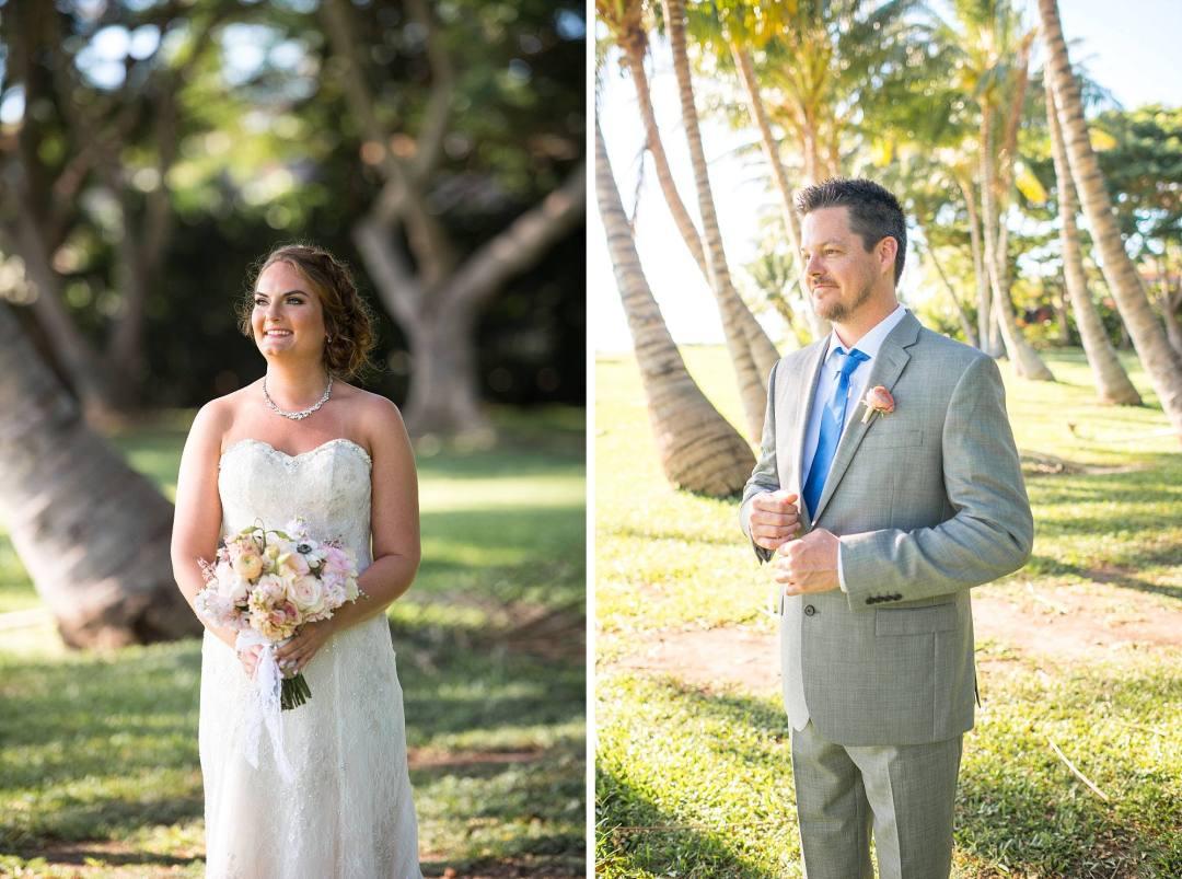 bride and groom individual shots before wedding