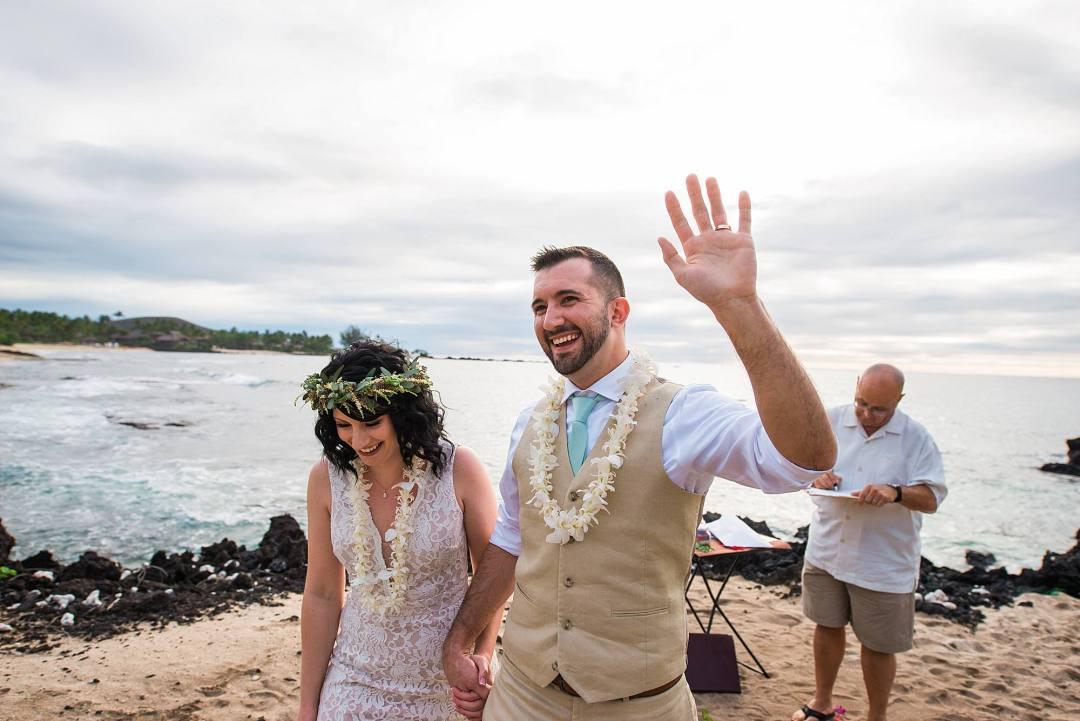 couple just married at kukio beach in kona