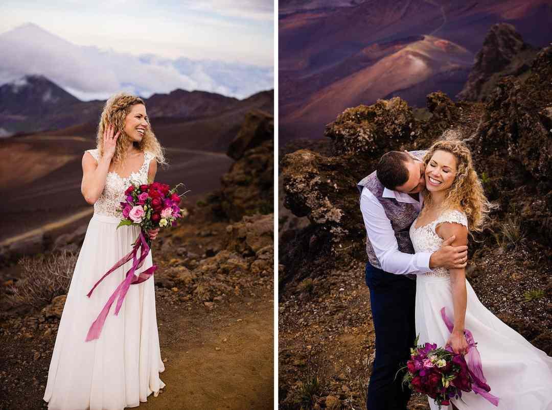bridal portraits on Haleakala