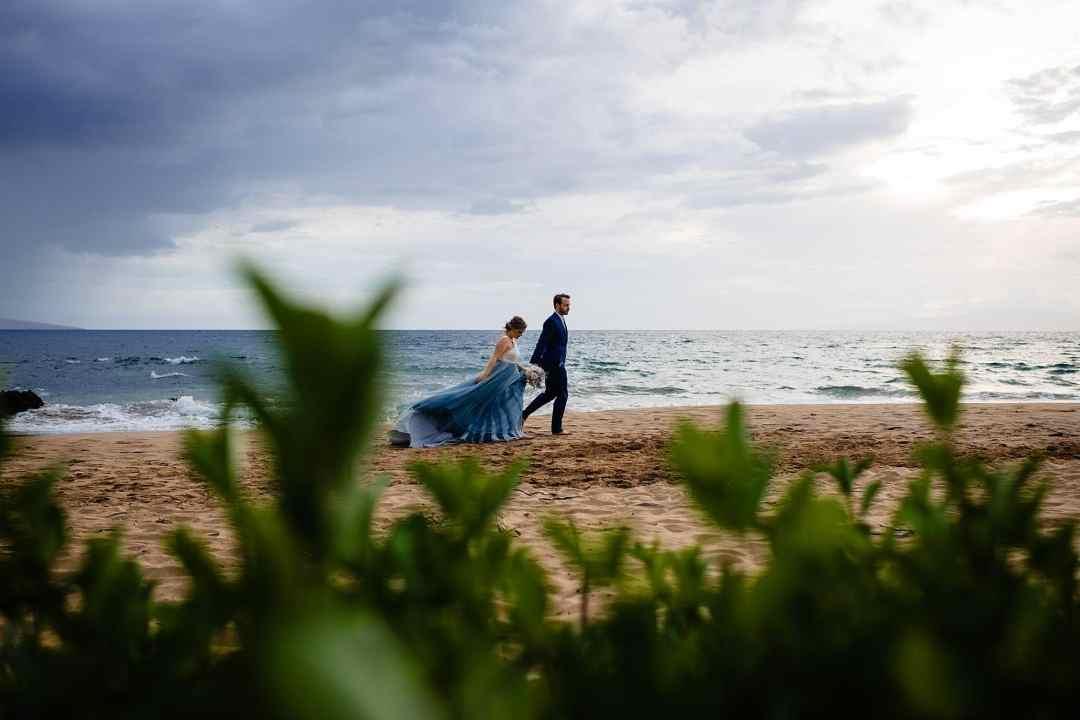 chantel lauren steel blue mae dress on beach in maui