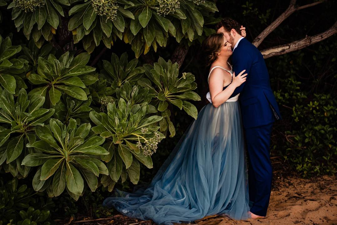 chantel lauren steel blue mae dress on beach bride