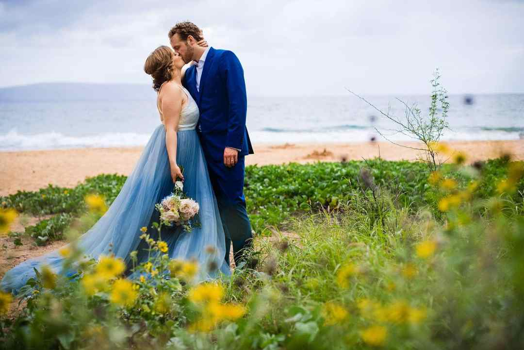 chantel lauren steel blue mae dress on bride