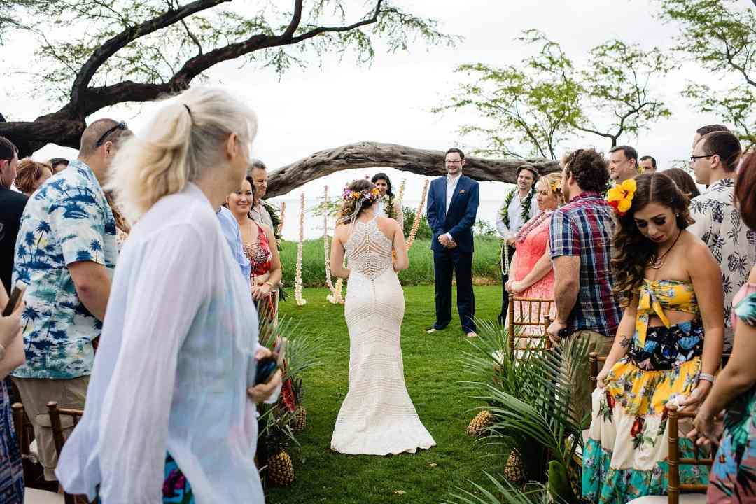 bride walking to groom
