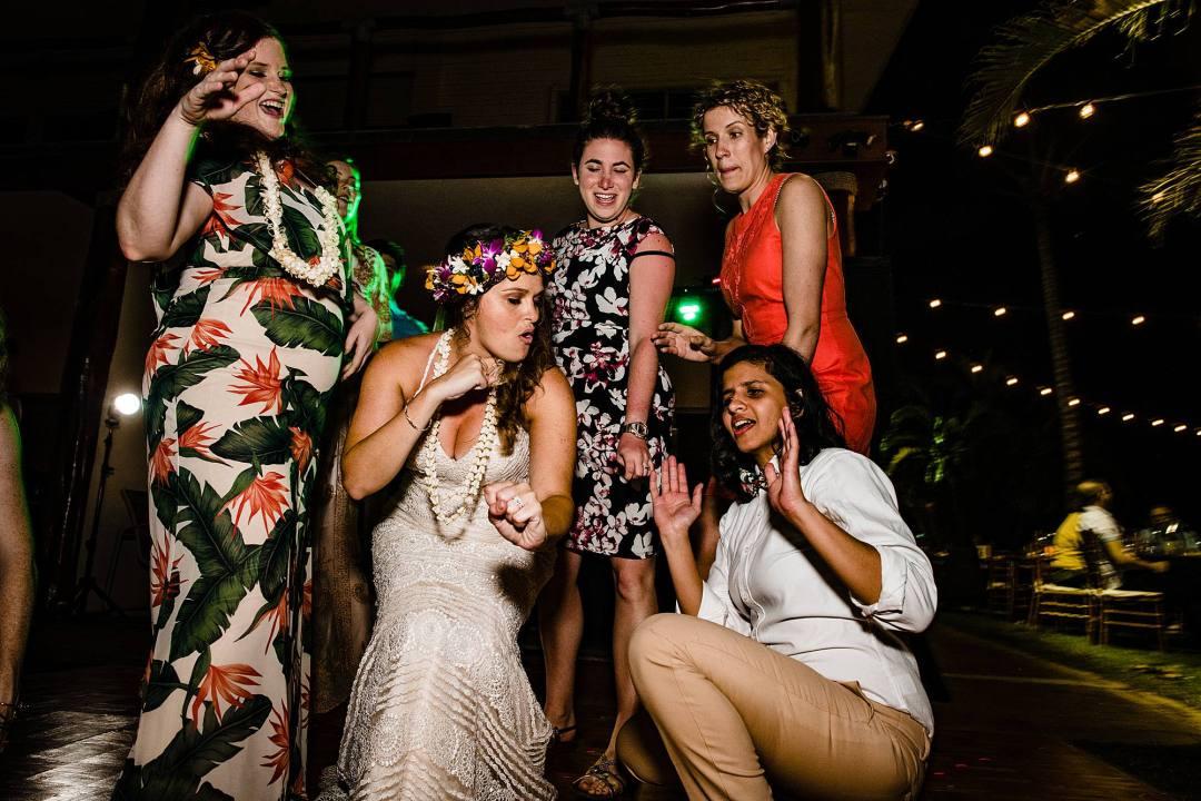 bride dancing with bridesmaids