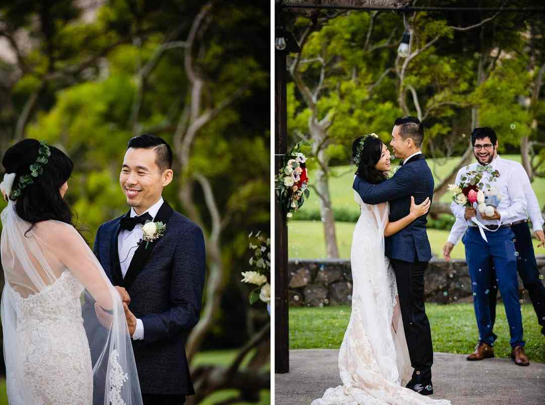 bride and groom after first kiss