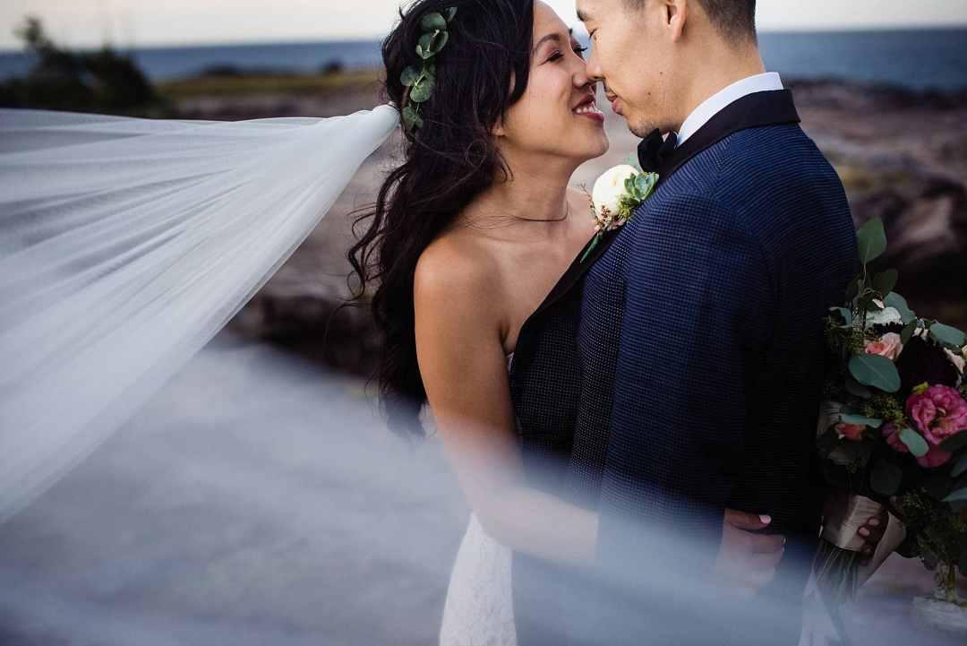 romantic bridal potrait with veil
