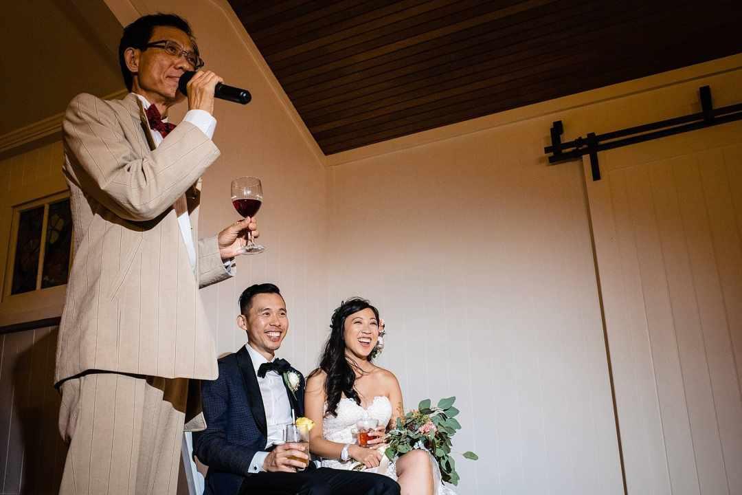 speeches during Steeple House Kapalua wedding
