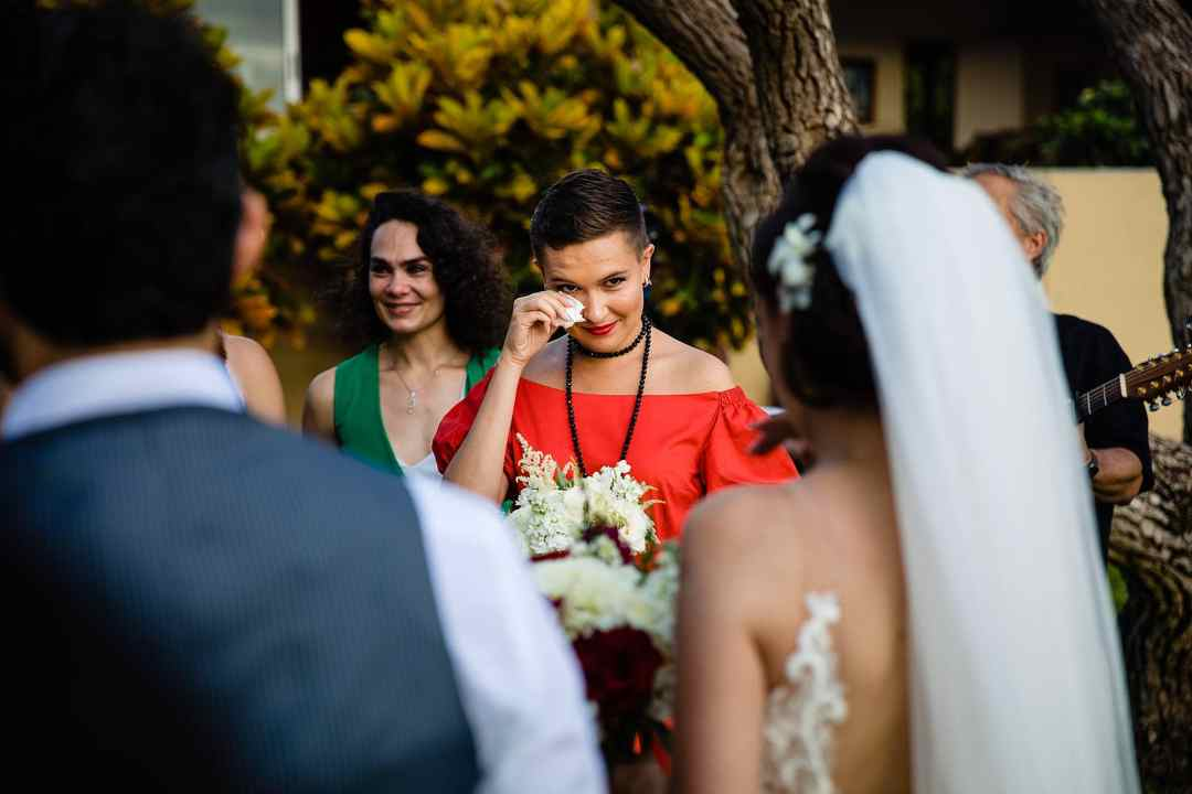 bridesmaid wiping tears