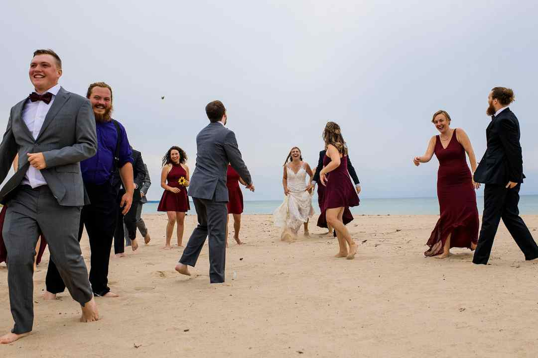wedding party photos at warren dunes state park