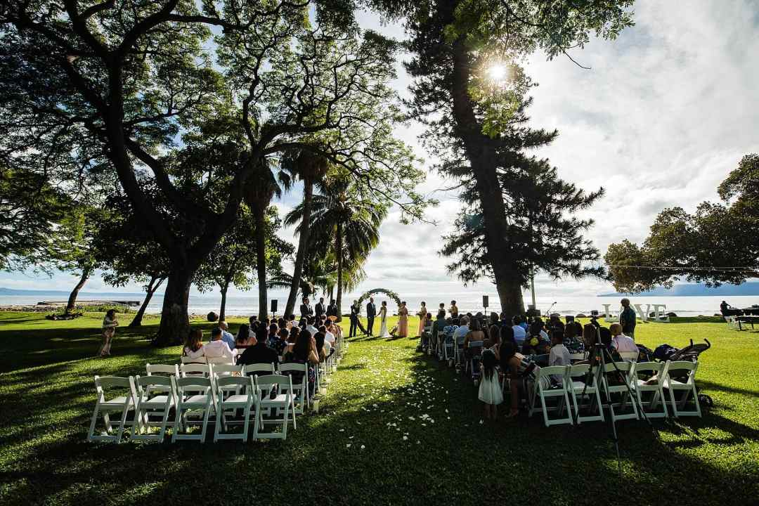 circular flower arch for wedding at olowalu plantation house