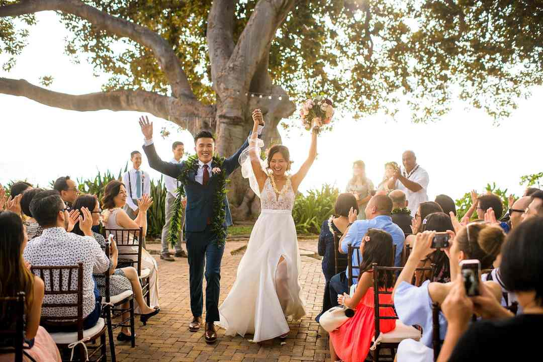 bride and groom just married at Olowalu Plantation House