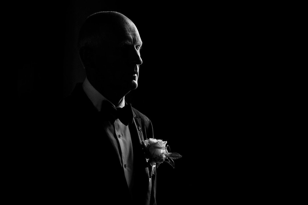 dramatic portrait of groom in maui