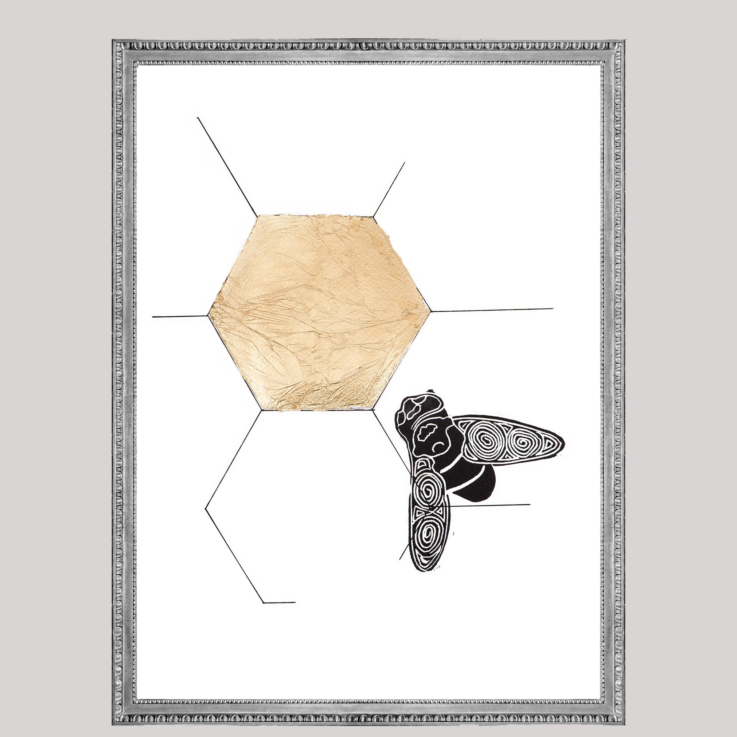 Gold Black bee lino, Natuurlijk Angelart, Angela Peters. Illustratie