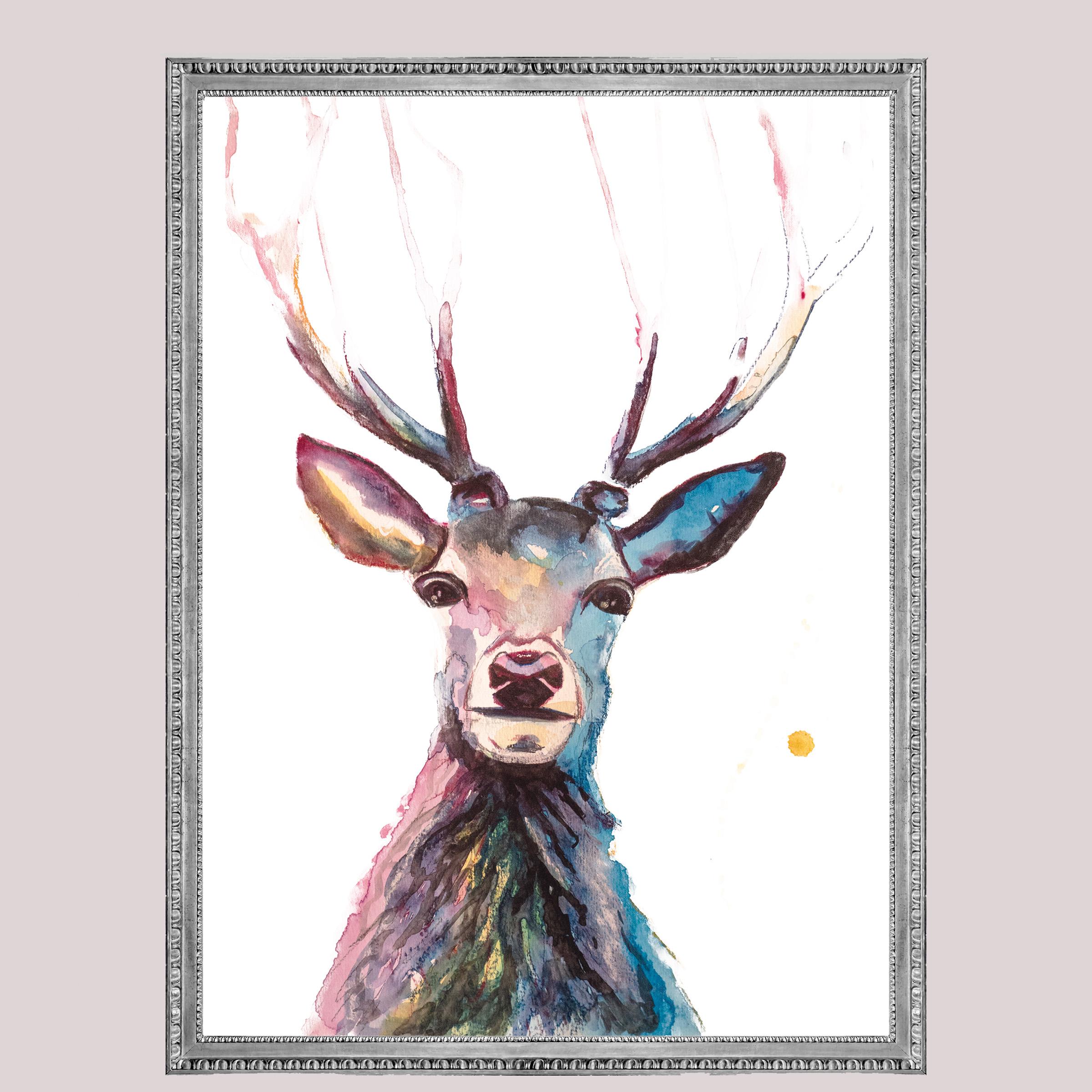 Hertje, deer, forest, animal dieren print, Natuurlijk Angelart, Angela Peters. Illustratie Ink aquarel