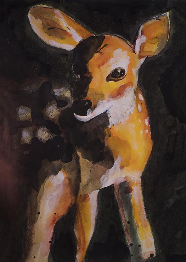Hertje, Deer forest animal, Natuurlijk Angelart, Angela Peters. Illustraties inkt Aquarel