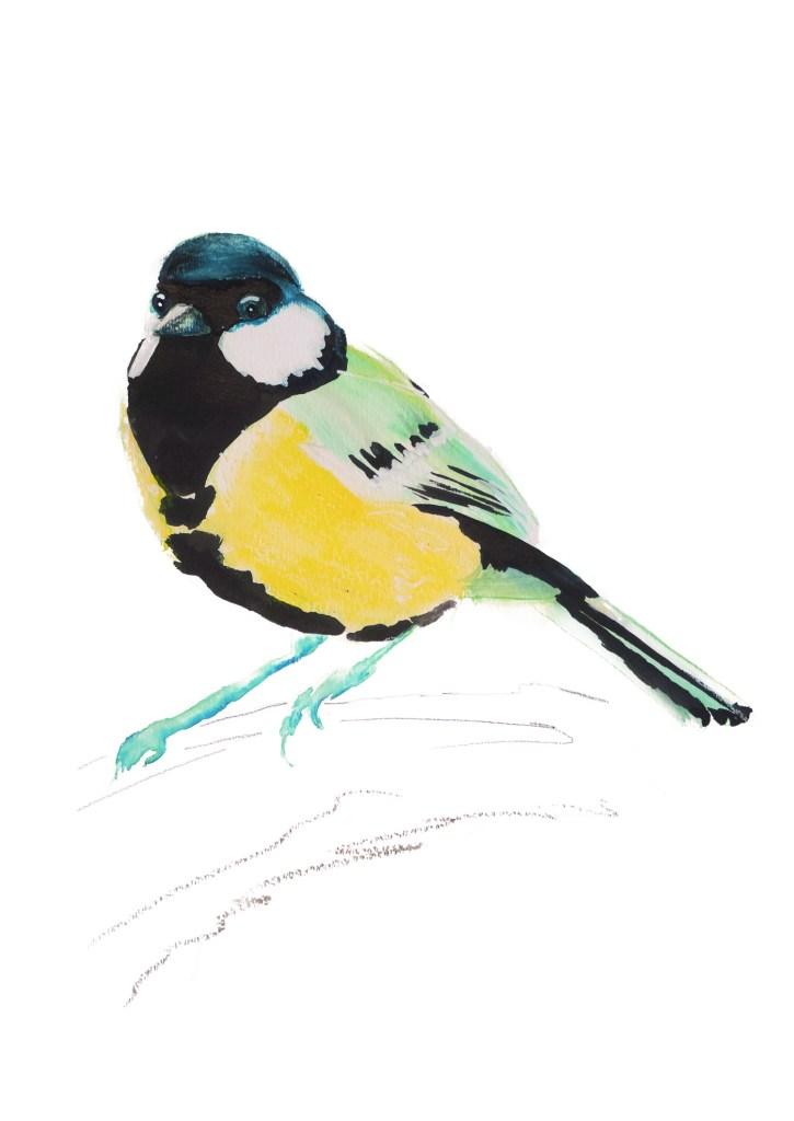Blue Bird, Natuurlijk Angelart, Angela Peters. Illustratie ink aquarel
