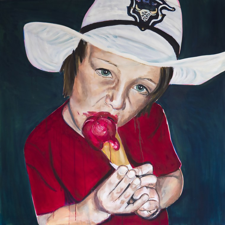 Portretten, portret schilderijen Angela Peters Cowboy met ijsje