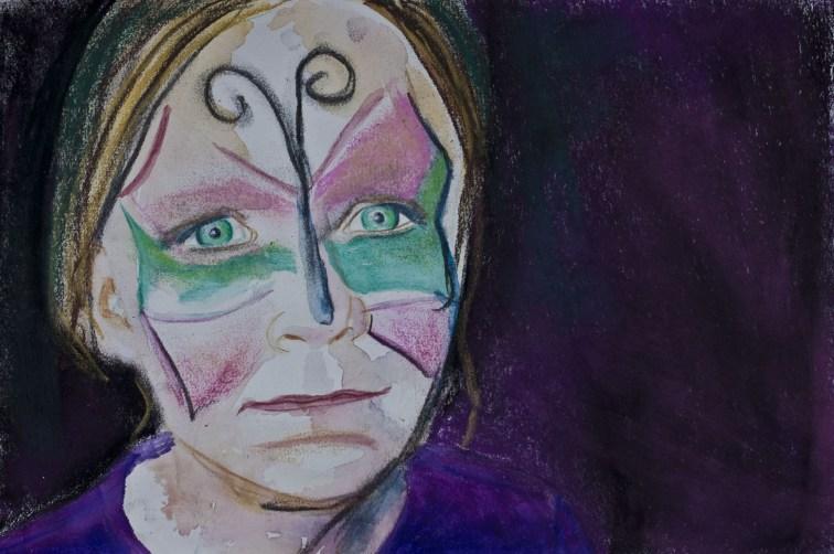 Portretten, portret schilderijen Angela Peters vlinder meisje