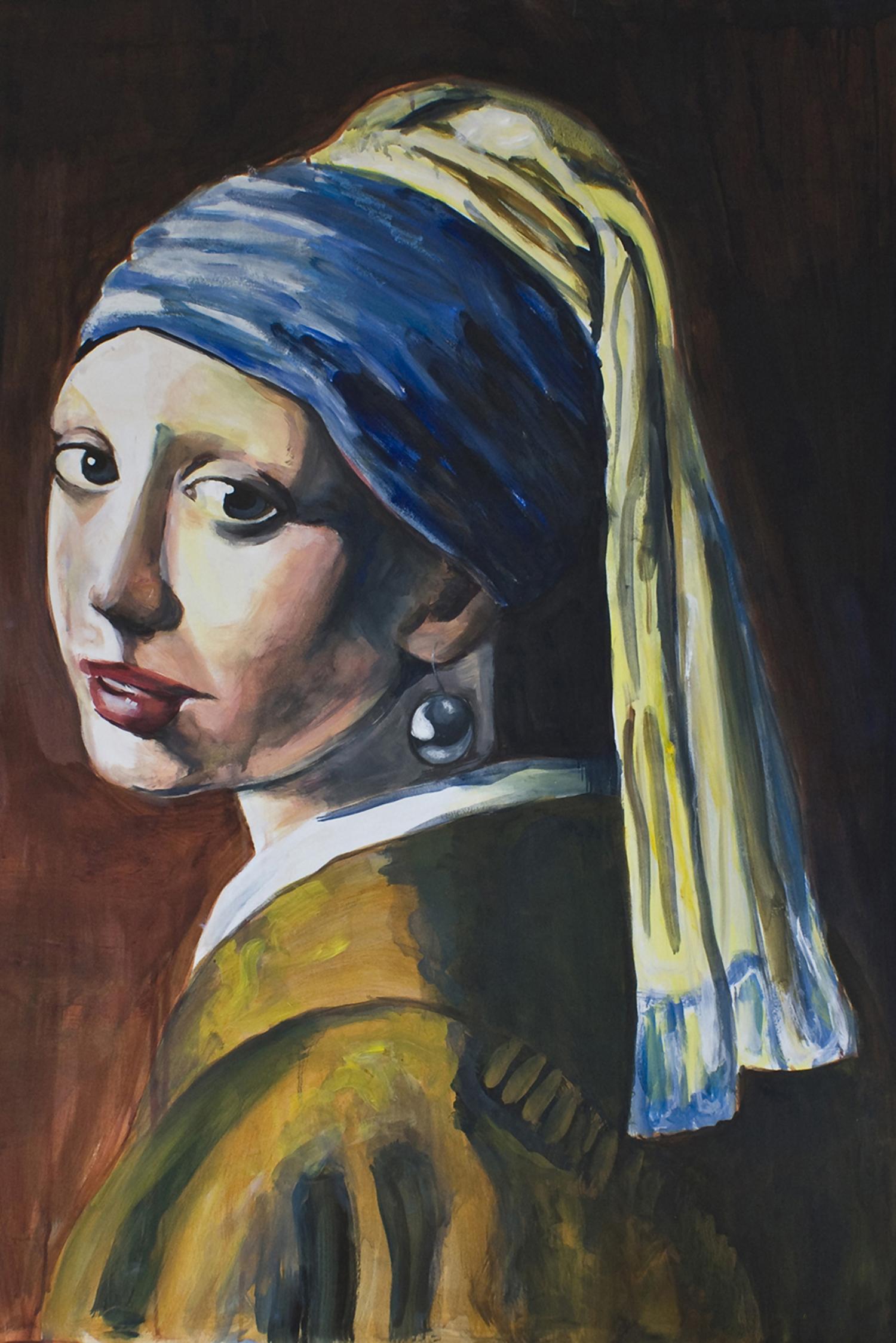 limited edition Giclée Print Meisje met de parel Johannes vermeer Angela Peters beeldende kunst