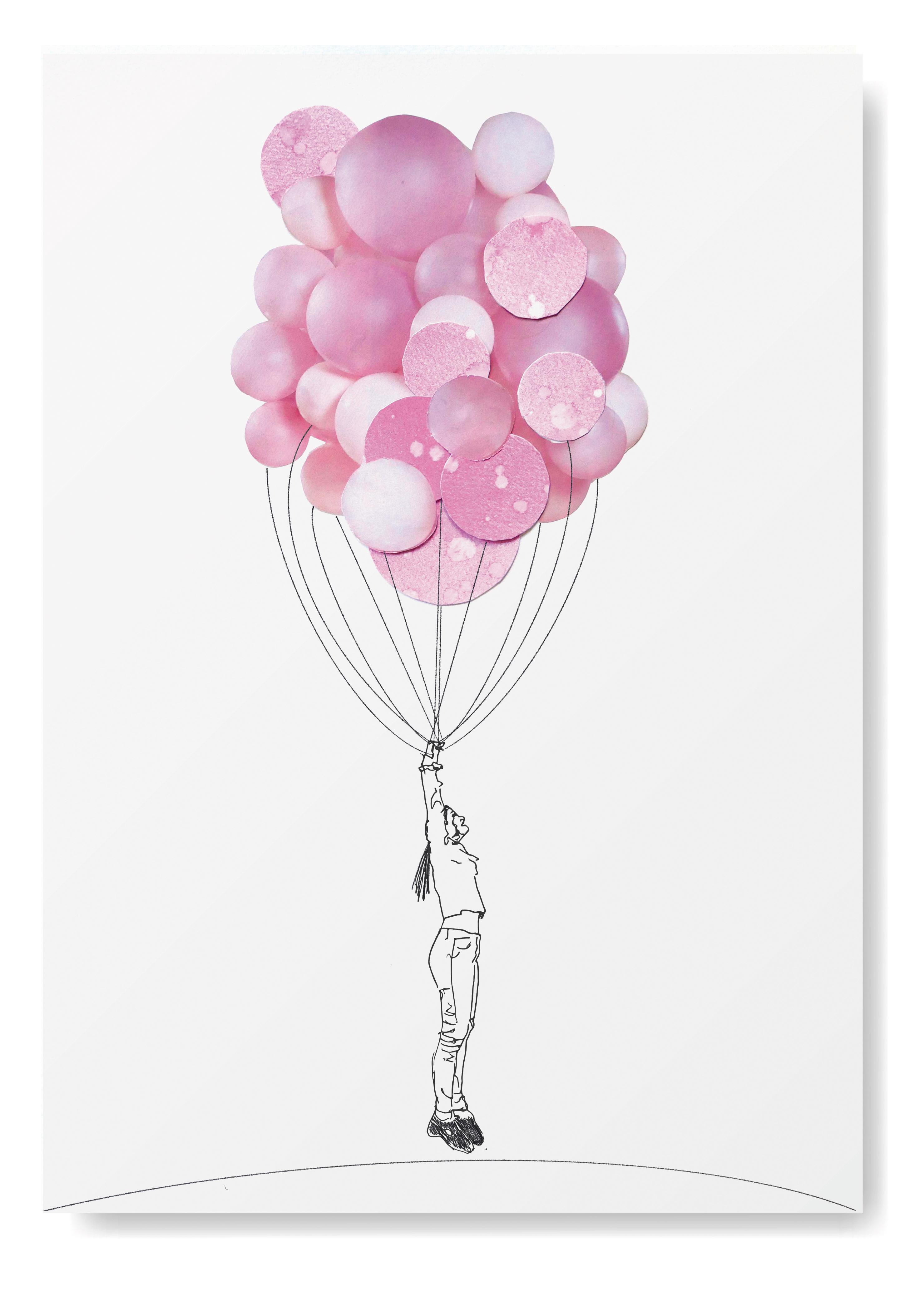 meisje met Ballon Angela Peters illustratie, collage kaarten Angelart Kunst&zo kunst