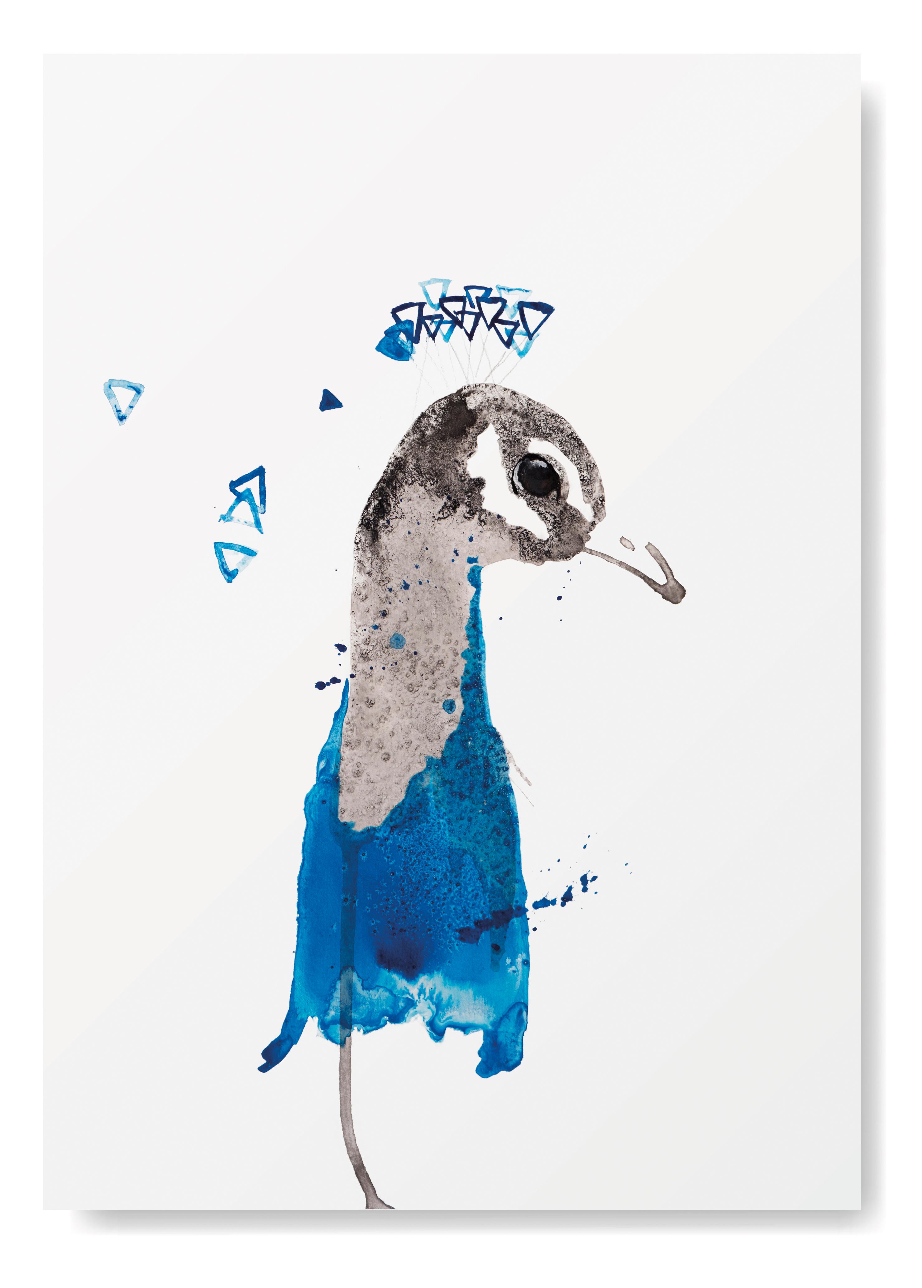 Angela Peters illustratie, dieren vogel kaarten Angelart Kunst&zo kunst poster pauw
