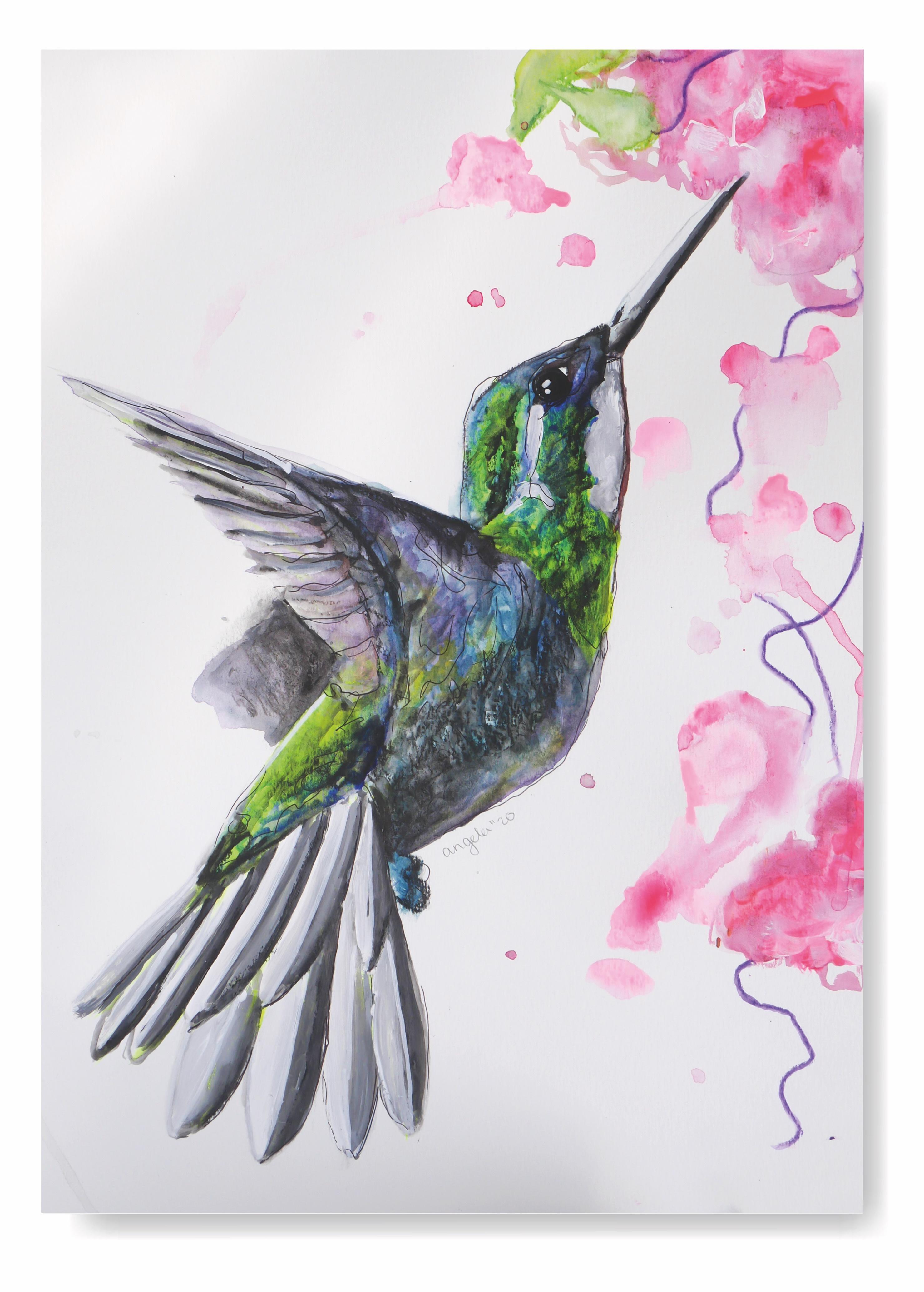 spetters maken met aquarelverf kolibrie
