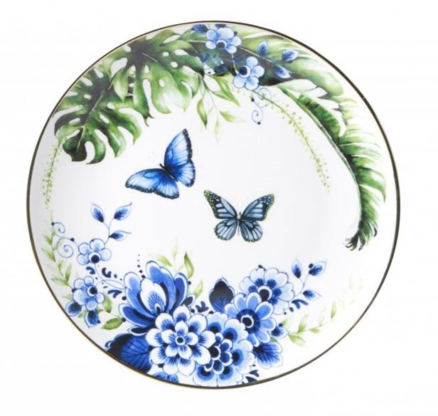 Wandbord Vlinders Heinen Delfts Blauw wand borden bij Angelart Kunst en Zo Hattem Vlindertuin