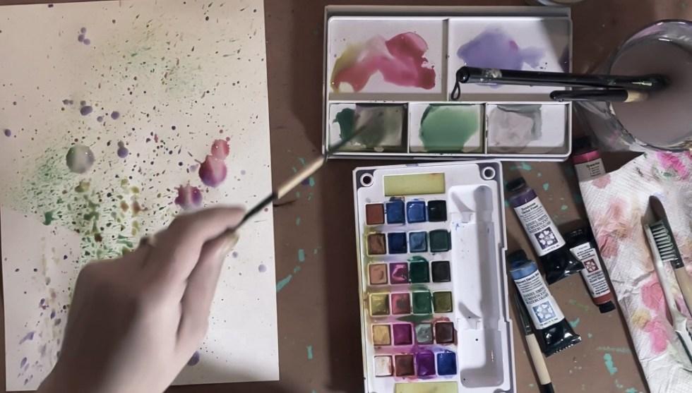aquarelverf natuurlijk angelart aquarelverf oefeningen Angela Peters spetters
