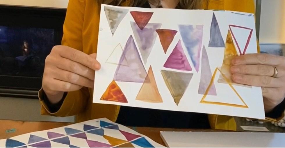 aquarelverf natuurlijk angelart aquarelverf oefeningen Angela Peters driehoeken