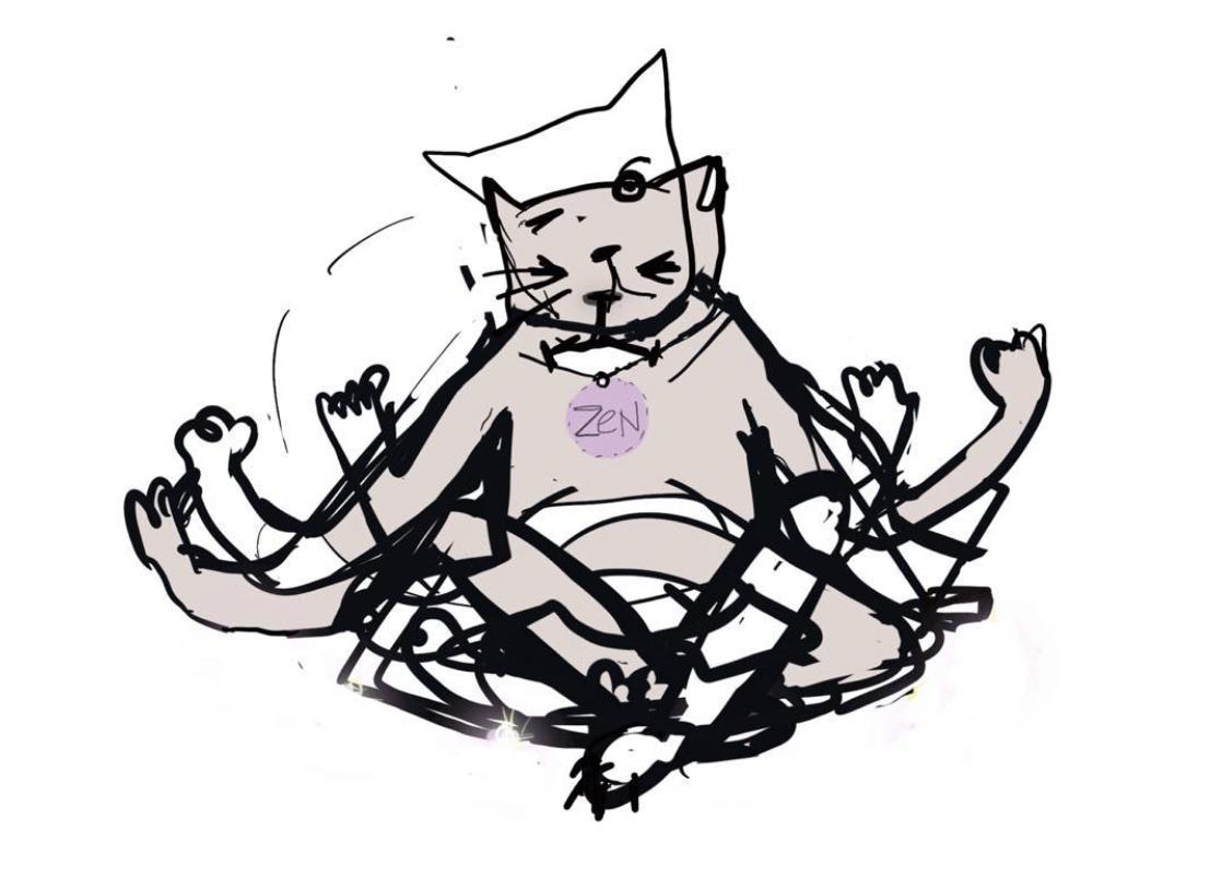Zen kat kunst print in lijst