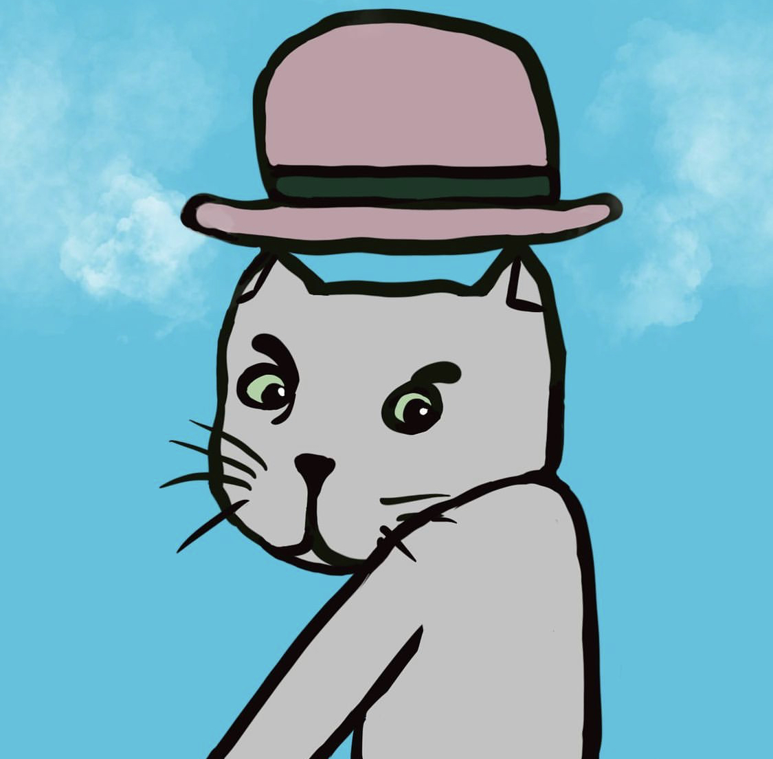 Kat met hoed kunst print