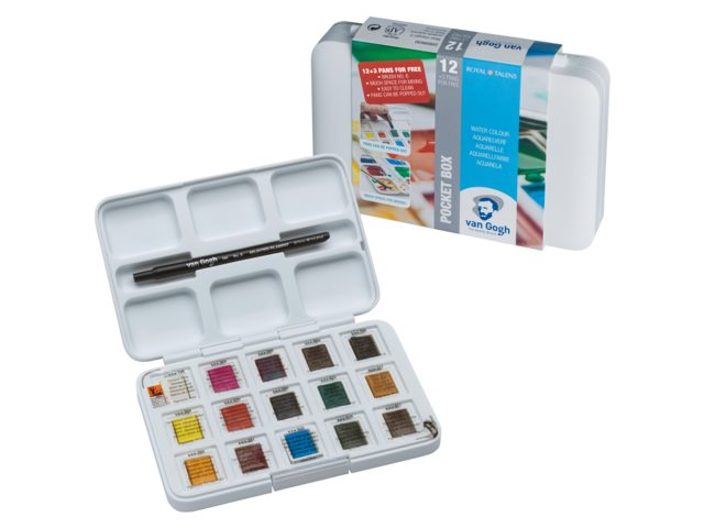 Van Gogh aquarelverf pocket box 12+3 gratis bij Angelart Kunst&Zo