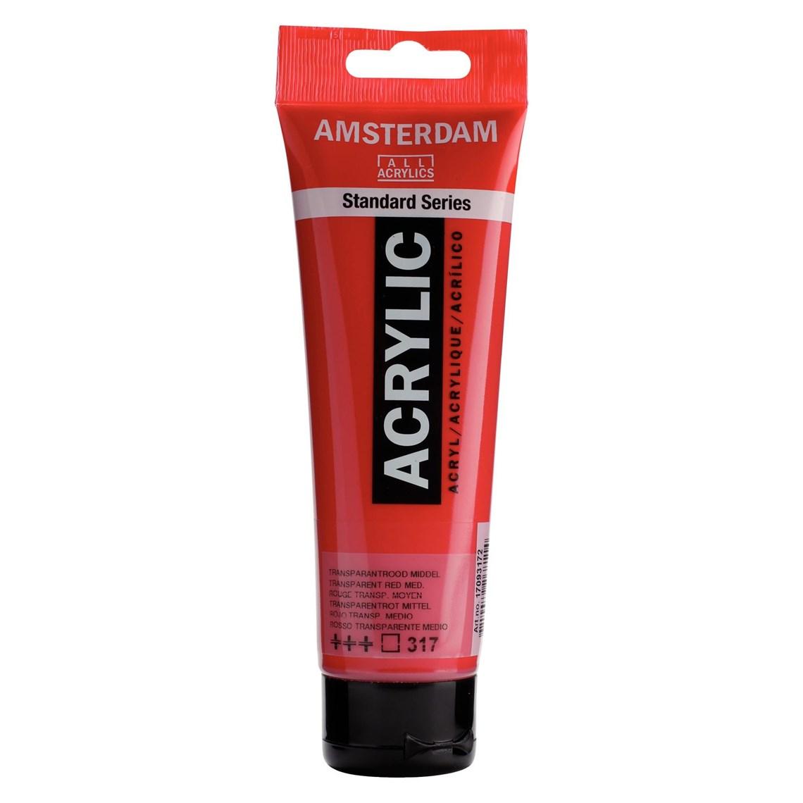 Amsterdam acrylverf Transparantrood middel 317