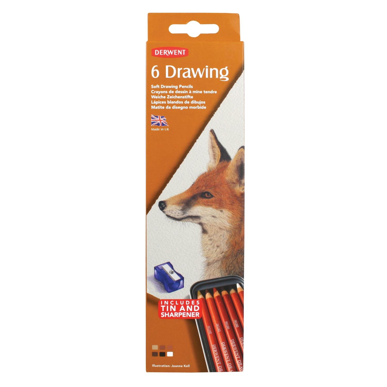 6 tekenpotloden in blik - Derwent Drawing